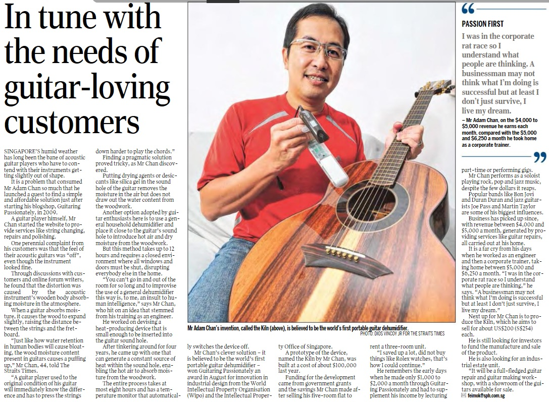 20141022A1_Straits Times 22 Oct 2014 on SG_In tune with the needs of guitar-loving customers